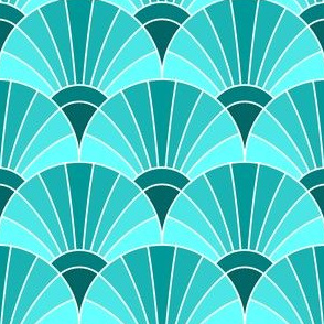 05868584 : fan scale : cyan teal turquoise