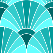 art deco fan scale : cyan teal turquoise