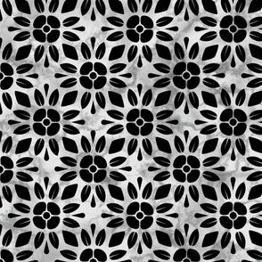 Black Floral Marble Geometric