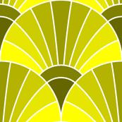 art deco fan scale : lemon yellow olive green