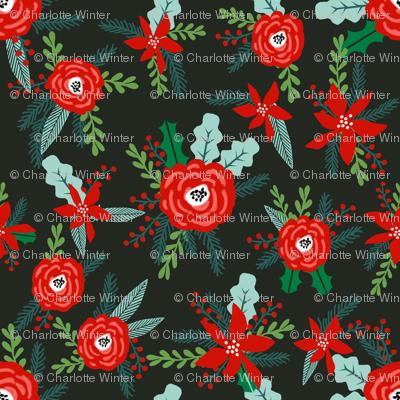 micro christmas florals fabric xmas christmas fabric poinsettia christmas