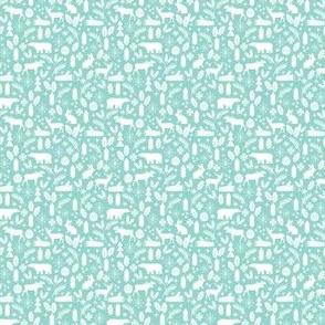 tiny christmas woodland print mint xmas holiday christmas fabric micro print