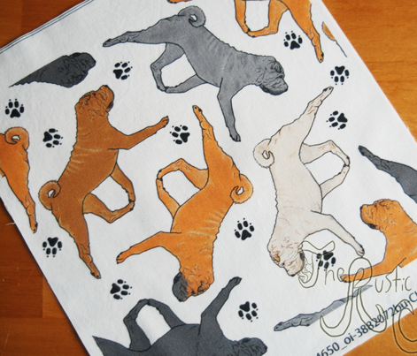 Trotting Chinese Shar pei and paw prints - white