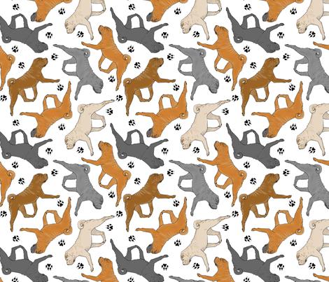 Trotting Chinese Shar pei and paw prints - white fabric by rusticcorgi on Spoonflower - custom fabric