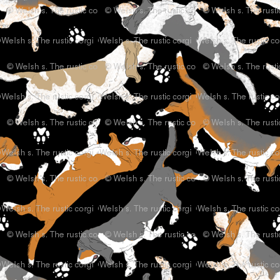 Trotting Basset hounds and paw prints - black