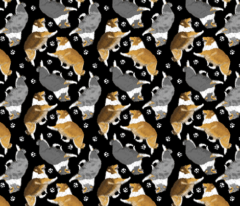 Trotting rough coated Collies and paw prints - black fabric by rusticcorgi on Spoonflower - custom fabric