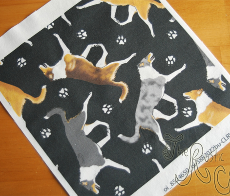 Trotting smooth coated Collies and paw prints - black