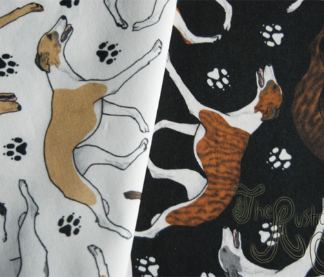 Trotting Whippets and paw prints - black