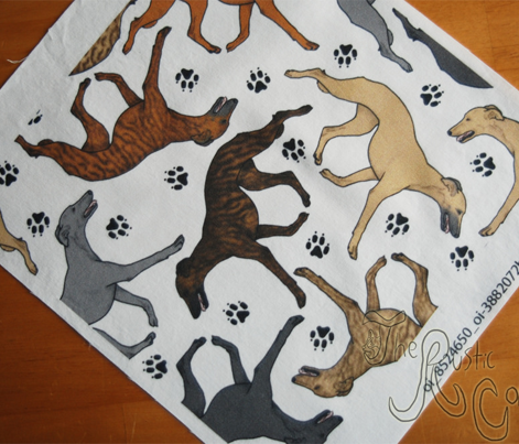 Trotting Whippets and paw prints B - white