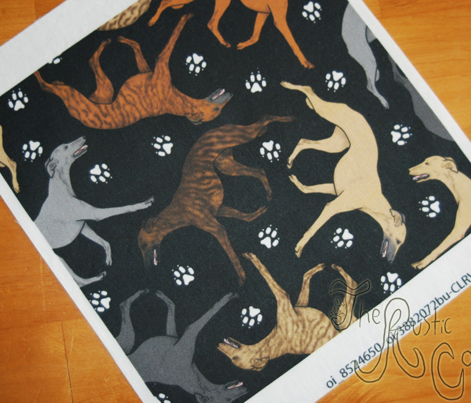 Trotting Whippets and paw prints B - black