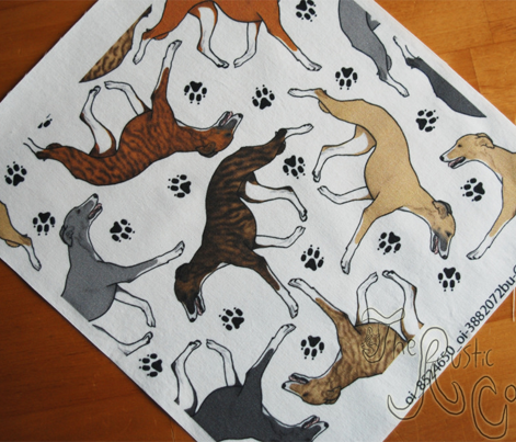 Trotting Whippets and paw prints C - white