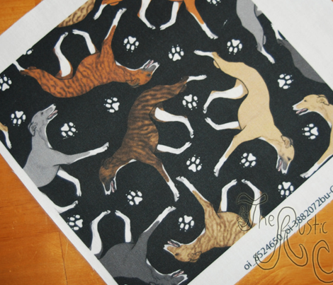 Trotting Whippets and paw prints C - black