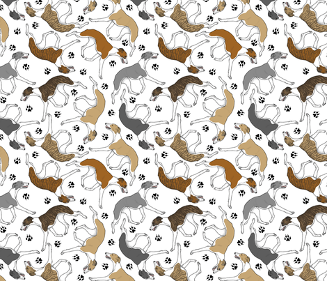 Trotting Whippets and paw prints D - white fabric by rusticcorgi on Spoonflower - custom fabric