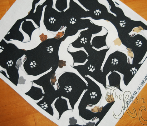 Trotting Whippets and paw prints E - black