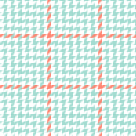 mint and coral tartan check fabric by weavingmajor on Spoonflower - custom fabric