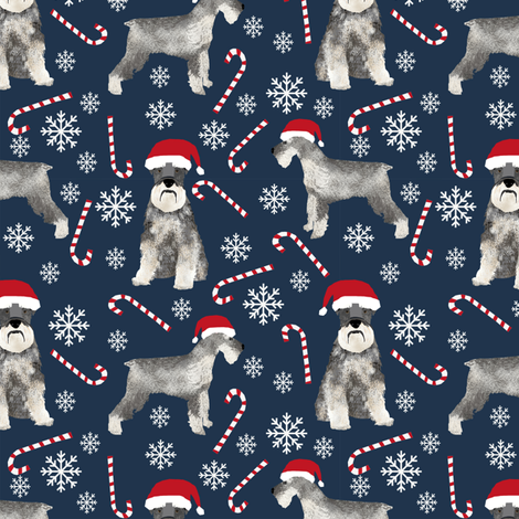 schnauzer christmas candy cane snowflakes christmas fabric christmas dogs fabric cute schnauzers fabric  fabric by petfriendly on Spoonflower - custom fabric