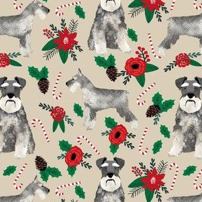 schnauzer christmas poinsettia christmas fabric christmas dogs fabric cute schnauzers fabric