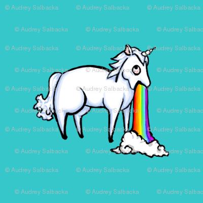 Large Unicorn and Rainbow on Robin's Eg Blue