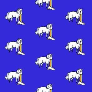Large Unicorn and Rainbow on Persian Blue