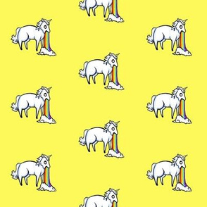 Large Unicorn and Rainbow on Lemon Yellow