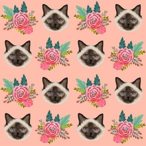 birman cat fabric seal point birman cat vintage flowers florals fabric cute cat fabrics