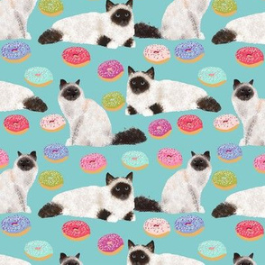 birman cat donut fabric cute seal point birmans with donuts cute birman cat donuts mint fabric