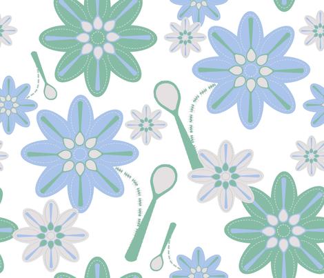 spoonflowers on white fabric by squeakyangel on Spoonflower - custom fabric