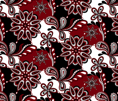 Gamecock Paisley Mandala fabric by rick_rack_scissors_studio on Spoonflower - custom fabric