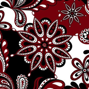Garnet and black team color Paisley Mandala