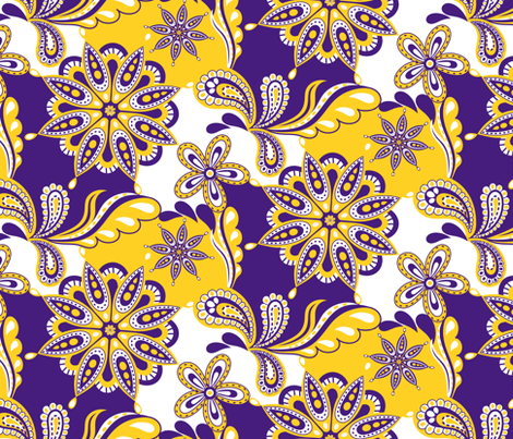 LSU Paisley Mandala fabric by rick_rack_scissors_studio on Spoonflower - custom fabric