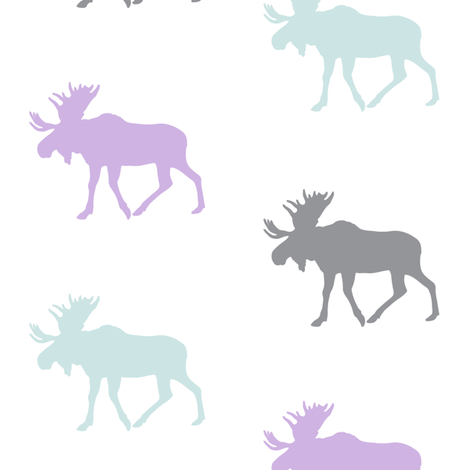 multi moose (aviary blue) || the lilac grove collection fabric by littlearrowdesign on Spoonflower - custom fabric