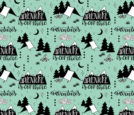 Adventure is out there - Mint background fabric by howjoyful on Spoonflower - custom fabric