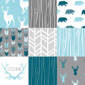 WholeCloth Quilt - Winslow Woodland - blue,grey,teal deer antlers, arrows, Woodgrain patchwork squares
