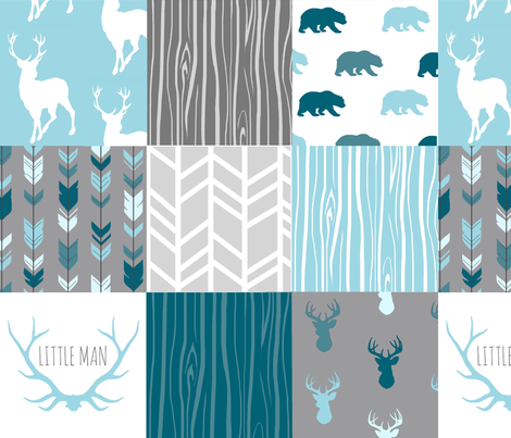 WholeCloth Quilt - Winslow Woodland - blue,grey,teal deer antlers, arrows, Woodgrain patchwork squares fabric by sugarpinedesign on Spoonflower - custom fabric