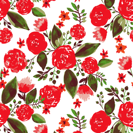 Holiday floral fabric by mintpeony on Spoonflower - custom fabric