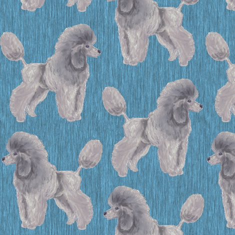 Custom Silver Poodle with Blue 2 fabric by eclectic_house on Spoonflower - custom fabric