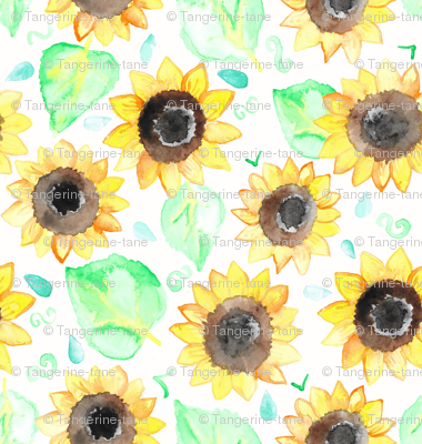 Cheerful Watercolor Sunflowers