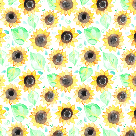 Cheerful Watercolor Sunflowers fabric by tangerine-tane on Spoonflower - custom fabric