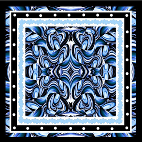 Blue Swirl Pillow top/ quilt patch