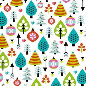 Colorful christmas trees and winter woodland forest