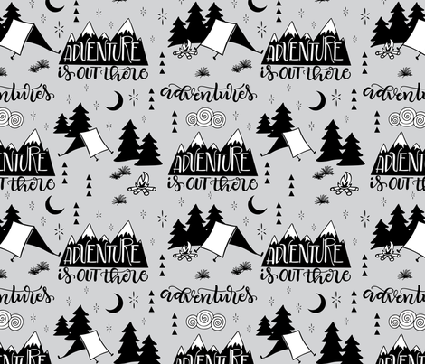 Adventure is out there - Grey background fabric by howjoyful on Spoonflower - custom fabric