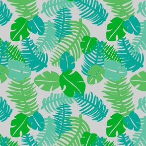 Tropical hawaiian  monstera jungle leaf design fresh green garden for summer green blue