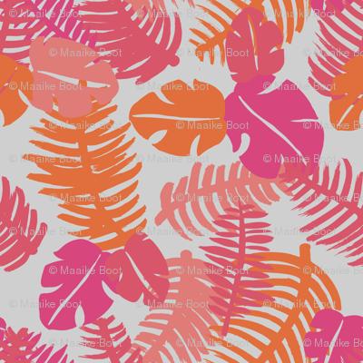 Tropical hawaiian monstera  jungle leaf design fresh lush garden for summer pink girls