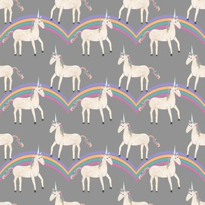 Unicorns & Rainbows on Grey