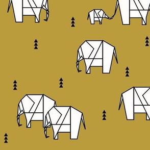 Geo elephants - mustard yellow safari animals