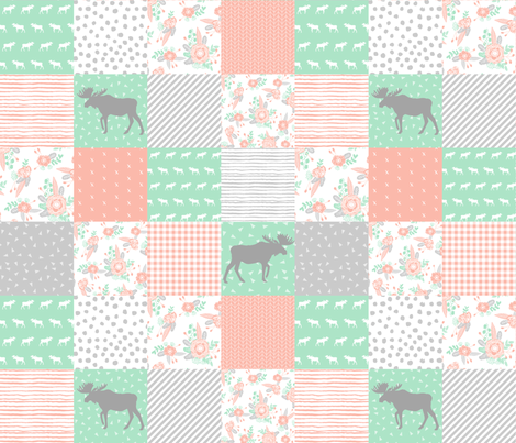 "moose cheater quilt cute cheater quilt design for girls best cheater quilts baby blanket 6"" squares crib blanket fabric by charlottewinter on Spoonflower - custom fabric"