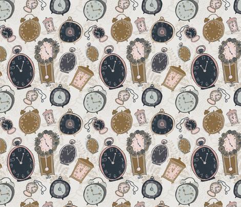 Tick Tock Clocks fabric by katievaz on Spoonflower - custom fabric