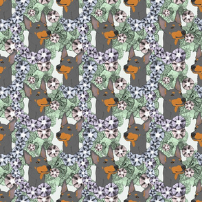 Floral Toy Manchester Terrier portraits