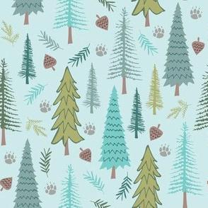 Wild Adventures - Woodland on Blue