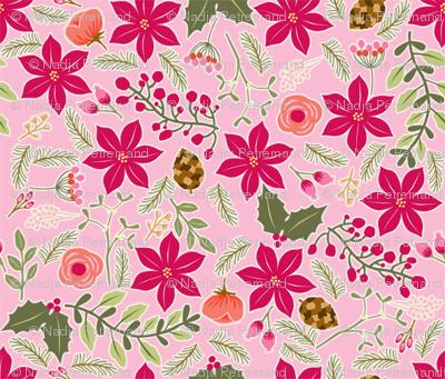 Poinsettia_flower_fond_rose_S